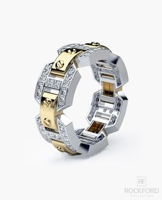 BRIGGS Two-Tone Gold Mens Wedding Band with 1.10 ct Diamonds