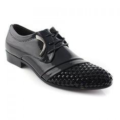 Career Black Weaving and Lace-Up Design Formal Shoes For Men, BLACK, 42 in Men's Shoes | DressLily.com