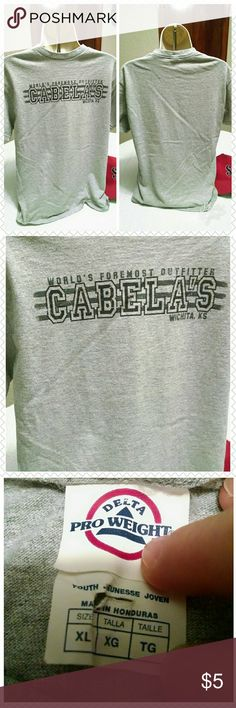 Cabela's tee Have you visited this Cabela's at some point and necer bought a shirt?  Here is a great chance to get one with a great deal. Bundle and save big. Delta pro weight Shirts & Tops Tees - Short Sleeve