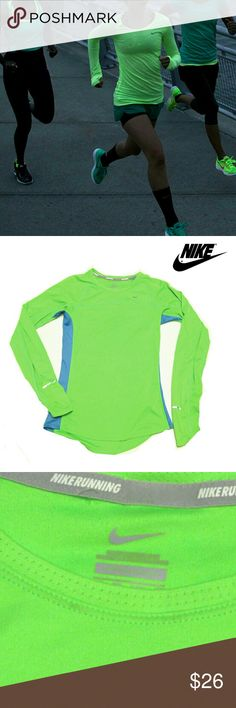 """NIKE NEON GREEN & BLUE SIDE STRIPE LNG SLV TOP NIKE NEON GREEN & BLUE SIDE STRIPE LNG SLV TOP Pre-Loved  / Pic for Similarity  Only RN# 56323  CA# 055583 Only Flaw is Where I pulled Tag Out in Back Left Small Hole SZ  XS APPROX. Meas;    *   Pit to Pit   15 1/2""""    *   Sleeve   22""""    *   Back Neck to Hem L   25"""" Price Reflects Small Hole in Back Top  Pls See All Pics. Ask ? If Not Sure Nike Tops Tees - Long Sleeve"""