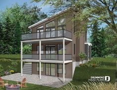 Discover the plan 3993 (Taylor) which will please you for its 3 bedrooms and for its Cottage, chalet, cabin styles. Narrow Lot House Plans, Two Story House Plans, New House Plans, Modern House Plans, Modern House Design, Contemporary Style Homes, Contemporary House Plans, Modern Homes, Modern Cabins