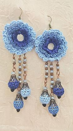 Royal Blue Jewelry Set 1 Necklace 1 pair of Earrings Crochet