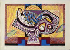 """JORDI TRAPERHO """"Fruiter cosmològic amb T."""" Serigrafía 90/99. 1990. Serie Fruiters Cosmològics. Edicion Galería Taller de Picasso. Impresion Taller Portocarreño. 60x42cm"""