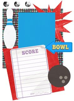 bowling scrapbooking pages | Bowling Digital Scrapbook Page/Invitations