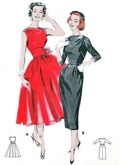 1950s Dress Pattern Butterick 8357 Day or Evening by paneenjerez, $30.00