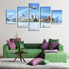 Unframed 5 Panels Eiffel Tower Modern Home Wall Decor Painting Canvas Art HD Print Painting Canvas Wall Pictures for Home Decor -- Awesome products selected by Anna Churchill