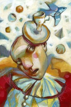 """""""Juggler"""" by Alexander Daniloff. Acrylic painting on Panel / Board / MDF, Subject: People and portraits, Impressionistic style, One of a kind artwork, Signed on the back, This artwork is sold unframed, Size: 20 x 30 x 0.5 cm (unframed), 7.87 x 11.81 x 0.2 in (unframed), Materials: acrylic, colored pencils, pastel"""