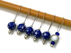 Stitch Markers Beaded Royal Blue Silver Stars Snag by TJBdesigns, $7.50