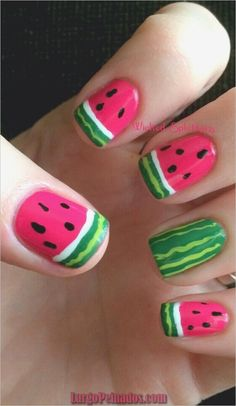 Nails Designs You Can Replicate Now! Seriously in love with these watermelon nails!Seriously in love with these watermelon nails! Teen Nail Art, Teen Nails, Nails For Kids, My Nails, Watermelon Nail Designs, Watermelon Nail Art, Fall Nail Designs, Cute Nail Designs, Nail Art Inspiration