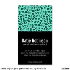 Green leopard print pattern and black