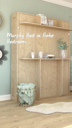 Best Murphy Bed, Murphy Bed Ikea, Lori Walls, Bed Wall, Real Wood, Bed Design, Storage Shelves, Bed Frame, Bathroom Medicine Cabinet