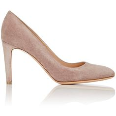 Gianvito Rossi Women's Rounded-Toe Pumps ($670) ❤ liked on Polyvore featuring shoes, pumps, colorless, high heel shoes, suede slip on shoes, suede shoes, round toe suede pumps and slip-on shoes