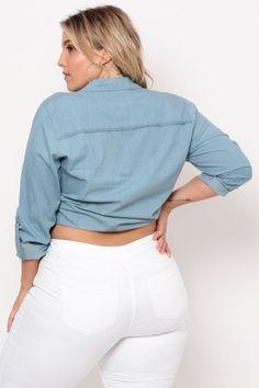 Plus Size Long Sleeve Denim Shirt - Light Wash Plus Size Tops, Trendy Plus Size, Plus Size Womens Clothing, Clothes For Women, White Jeans, White Shorts, Classy Girl, Denim Shirt, Latest Trends