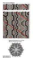 Grey and Pink peyote stitch needlecase pattern