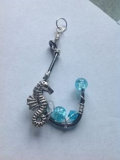 Items similar to Handmade Fish Hook Necklace Fishing Hook Jewelry Real Fish Hook Pendant Seahorse Charm on Etsy Fish Hook Jewelry, Fish Hook Necklace, Bullet Necklace, Dragonfly Jewelry, Wire Jewelry, Jewelry Crafts, Jewelry Ideas, Jewlery, Handmade Jewelry