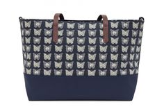 modeherz ♥ Pink Lining Notting Hill Tote Cream Butterflies On Navy