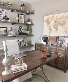 100 Charming Farmhouse Decor Ideas For Your Home Office   Style Home Office  Decor With Rustic Cabinets And A Large Wall Map.