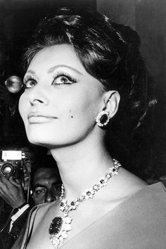 Original Caption:Italian actress Sophia Loren wearing earrings and a necklace by Van Cleef and Arpels at the Cannes Film Festival, 9th May 1966.