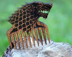 Folding beard comb Wooden comb Personalized custom by EnjoyTheWood