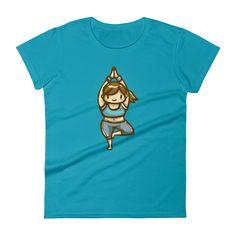 Caribbean Blue Yoga Girl Short Sleeve T-Shirt for Women