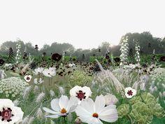 Incredible white and black perennial contrast!Anouk Vogel Garden of Escher, Chaumont-sur-Loire, France Plant Design, Garden Design, Beautiful Gardens, Beautiful Flowers, Deco Floral, White Gardens, Colorful Garden, Plantation, Dream Garden