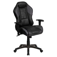 Flash Furniture High Back Vinyl Executive Swivel Office Chair with Inner-Coil Spring Comfort Seat and Gray Base - CP-B329A02-GY-GG