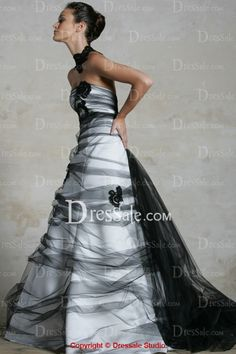 Stunning Strapless A-line Style Wedding Dress with Black Tulle Overlay