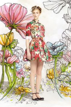 RED Valentino SS14 collection. Those lively floral illustrate invents a merry wonderland of fashion.