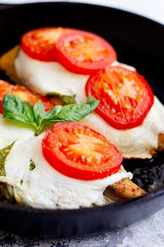 Do you love Caprese Salad? Then you're going to love this Caprese Chicken recipe! You can serve this easy chicken caprese with pasta, rice or even as a sandwich. This is a healthy recipe that is also gluten free and low carb. Kids love it and it makes a delicious one pan recipe for a weeknight dinner. Drizzle it with some balsamic glaze for maximum flavor! #chickencaprese #chickencapreserecipe #chickencapresesandwich #chickenrecipe #chickendinner Chicken Recipes At Home, Baked Chicken Recipes, Balsamic Glaze Recipes, Slow Cooked Chicken, Caprese Chicken, Lunch Recipes, Easy Recipes, Dinner Recipes, Homemade Pesto