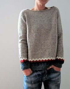 made from my Kaarina and Ingrid - leftovers had not enough yarn left to knit the whole sweater with the All American Collection Sport weight…. Sweater Knitting Patterns, Knitting Designs, Knit Patterns, Sport Pullover, Casual Outfits, Fashion Outfits, How To Purl Knit, Pulls, Lana