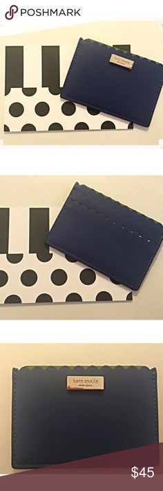 """Kate Spade Blue Scalloped Card Holder ✨Kate Spade Royal Blue Scalloped Card Holder✨ 3 Card Slots ✨ Leather ✨ Size 5""""W x 3 3/4"""" H ✨ kate spade Bags Wallets"""