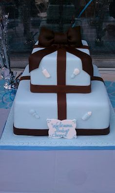 Love the blue and brown color combination for a boy shower.