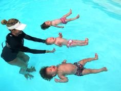 Look at that first kid. Survival Swim Lessons - teaches babies as young as 6 months to roll on their backs, float, and wait for he's doing it but he cant move!!! hahaha