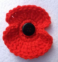 Remembrance Poppy Crochet Pattern by Mary Thomson. In US terms with UK abbreviations given. These are really simple to make, just knocked out five in no time.