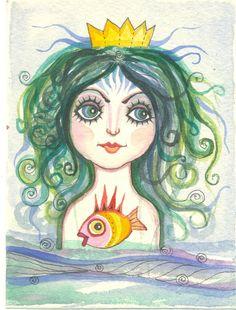 Mermaid  original watercolor painting by molMolly on Etsy,