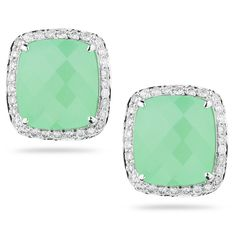 EMILY SARAH: In 14k white gold, these chrysoprase earrings are perfect for daytime or evening, and boast 0.36 carats of diamonds.