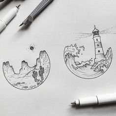 "821 Likes, 16 Comments - @alucinori on Instagram: ""never enough tiny landscapes #iblackwork #tattoopins #blackflashwork #illustration #sketch…"""