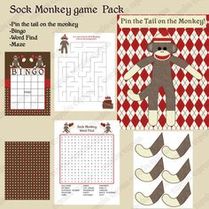 INSTANT DOWNLOAD  diy Sock Monkey  Birthday Party  PRINTABLE Game Pack  Bingo Maze Word Find Pin the tail on the monkey on Etsy, $7.50