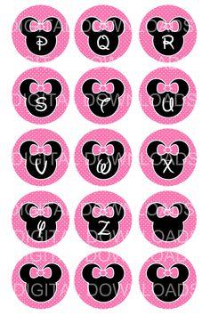 "Disney Minnie Mouse Alphabet Bottle Cap 1"" Circle"