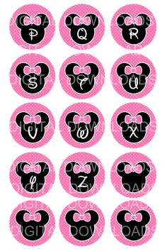"Disney Minnie Mouse Alphabet Bottle Cap 1"" Circle"