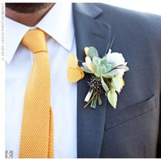 Rachelle & Ross's Rustic Outdoor Wedding – Quill and Succulent Boutonniere