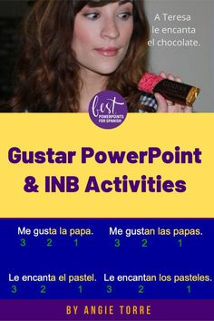 """This 32-slide PowerPoint makes a difficult concept easy by using comprehensible input and colors to explain the verb GUSTAR. It differentiates between, """"sustantivos"""" and """"infinitivos"""", explains pronouns and has student practices. It also includes interactive notebook activities and a foldable. Students will be able to talk about what they like and don't like. Why re-invent the wheel? It's already made for you. Take a look! #gustar #SpanishPowerPoint"""