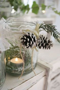 Simple and adorable: Decorated Candle Holder In Mason Jar