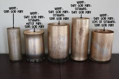DIY Gold Mercury Glass for the votives and vases.