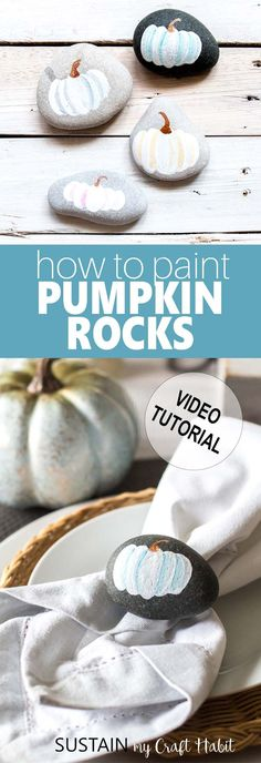 Painted rock pumpkins! Fun Fall and Thanksgiving craft idea. Rock painting craft idea. These make great napkin and paperweights or for the garden! #rockpainting #paintedrocks #thanksgivingcrafts #pumpkinrocks #napkinweights #thanksgivingtablescape via @sustainmycrafth