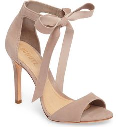 Schutz Rene Sandal in Grey. A soft tie at the ankle strap lends flirty movement to a sleek stiletto sandal made in Brazil. Pumps Heels, Stiletto Heels, Nude Shoes, Heeled Sandals, Cute High Heels, High Heels For Kids, Fashion Heels, Womens High Heels, Beautiful Shoes