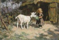 De witte geit - olieverf van Edzard Koning