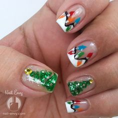 Inspiration on Christmas Tree Lights Nails by Nail Envy. Check out more Nails on Bellashoot. Christmas Nail Polish, Holiday Nail Art, Christmas Nail Designs, Christmas Manicure, Fabulous Nails, Gorgeous Nails, Funky Nails, Cute Nails, Light Nails