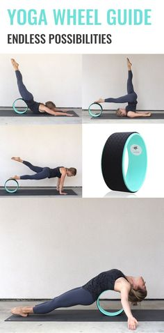 Get a free yoga wheel guide with 15+ poses to do with your yoga wheel! #yogawheel