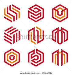 Abstract hexagon shaped vector logo design elements, grey and blue - buy this stock vector on Shutterstock & find other images. Hexagon Logo, Hexagon Shape, Geometric Logo, Geometric Lines, Vector Logo Design, Branding Design, Vector Art, Logo Hexagone, Logo Abstrait